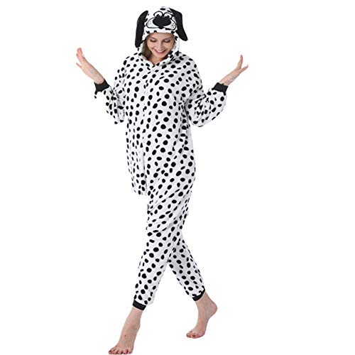 Animal Encantador Perro Manchado para Adultos Onesie Pijama de una Pieza Fiesta Familiar Cosplay Disfraz niños Monos Ropa con Cremallera A XL