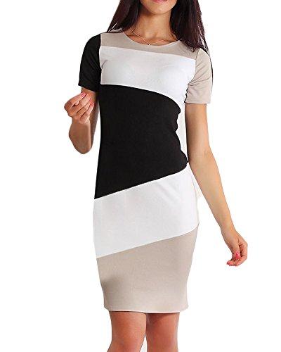 Mujer Vestidos Ajustados Falda Fiesta Mangas Corta Bodycon Vestido Lápiz Tubo Mini Vestido De Fiesta Negro M