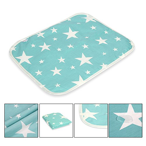 Letech® Wickelunterlage für Babys und Kleinkinder, wasserdicht, waschbar, wiederverwendbare Windel Matte (S (35 * 45cm), Stern)