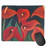Red Calla Lilies Painting Rechteckiges, rutschfestes Gaming-Mauspad Tastatur Gummi-Mauspad für Heim- und Büro-Laptops