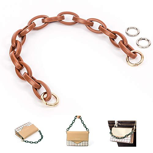 Xiazw Short Resin Bag Purse Handle Strap Replacement,Bag Decoration Chain,Bag Accessories Charms (Light Brown)