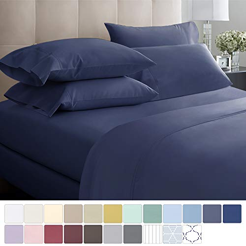 California Design Den 600 Thread Count Best Bed Sheets 100% Cotton Sheets Set - Extra Long-Staple Cotton Sheet for Bed 4 Piece Set with Deep Pocket (Blue, King Sheet Set)
