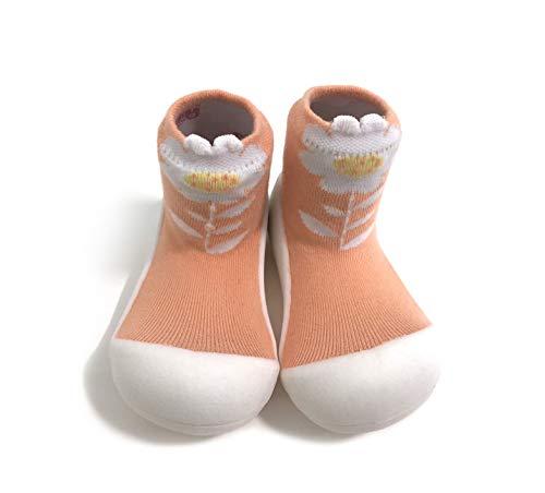 [Attipas] アティパス ベビーシューズ [ フラワー ] M(11.5cm) 01.ピーチ/かわいいベビーシューズ 滑り止め 公園遊び 出産祝い プレゼント あんよの練習 保育園靴 ソックスシューズ プレシューズ 室内履き 女の子
