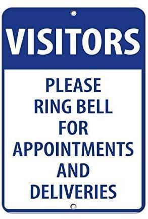 TammieLove Nowy metalowy znak odwiedzający proszę pierścień dzwonek do terminów i dostaw na zewnątrz i wewnątrz 20 x 30 cm