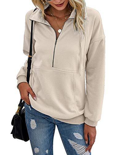 PRETTYGARDEN Women's Casual Long Sleeve Lapel Zipper Sweatshirt Drawstring Loose Pullover Tops Apricot