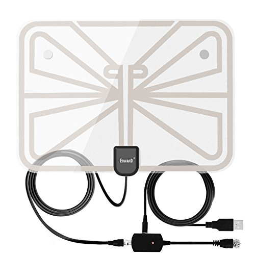 Antenna Indoor Amplified TV Antenna 50-100 Mile Range with Creative Adjustable Amplifier Booster, USB Power Supply Ultra Thin-Super Soft & Light