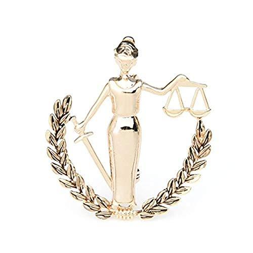 CHOUDOUFU Statue Skulptur Deko Silber Farbe Waage Sternbild Broschen Frauen Metall Party Bankett Brosche Pins Geschenke, Gold