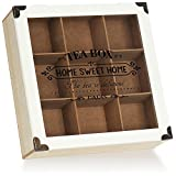 com-four® Caja rústica para almacenar Bolsas de té - Caja de té de Estilo rústico con 9 Compartimentos y Ventana de visualización - Almacenamiento de té - Caja de Bolsas de té (Paris - Blanco)