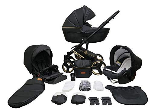 SaintBaby Poussette Landau Trio Siège Auto Cosi Comodo Gold 2in1 3in1 Isofix Siège Auto Cosi Poussette Combinée Black Lux 32 3en1 avec siège bébé