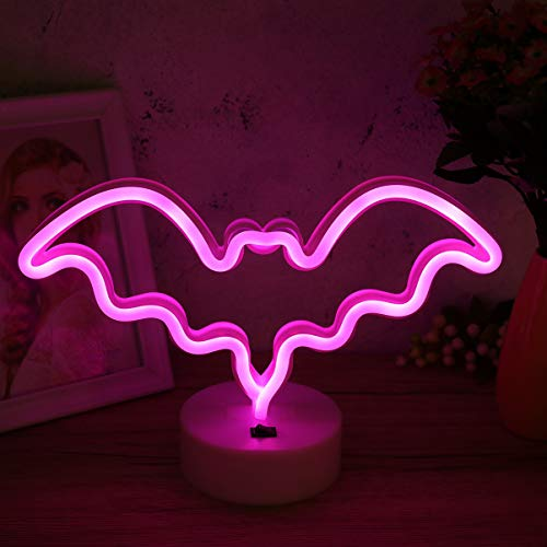 Mobestech letreros de luz de neón control de interruptor luz de murciélago decorativa hueco usb luz de noche de halloween para fiesta casa embrujada