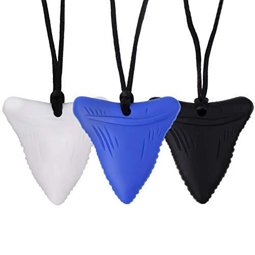 XWEM Collar De Masticación Sensorial, 3 Unids Bebé Tiburón Dentado Collar De Dentición Suave Ambiental Masticable Autismo Niños Y Chicas Masticar Juguetes