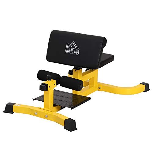 homcom Squat Machine Multifunzione 3 in 1 Regolabile Sit Up Push Up per Il Fitness, Fianchi e Gambe Acciaio, PVC, Eva 71 x 108 x 46-58 cm Nero
