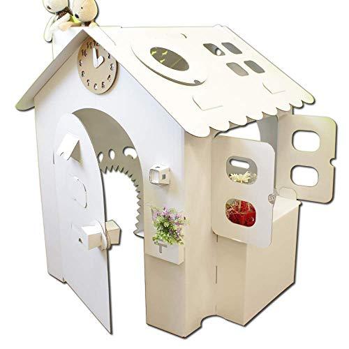 HOWAY オンリーハウスシリーズ (オンリーハウス白) ダンボール製 針が回せる時計玩具付【意匠登録出願中】