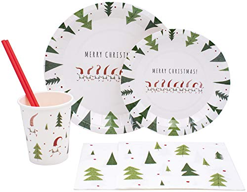 White Christmas Pack! Disposable Paper Plates, Napkins, Cups & Straws Set for 20