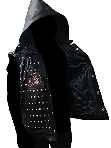 WD 2 Watch Dogs Dedsec Wrench Jacket Shawn Baichoo Vest Real Leather (M, BLACK)