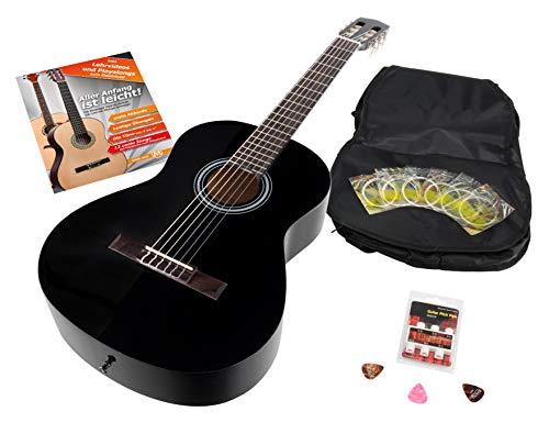 Calida Benita 4/4 Konzertgitarre Set inkl. Zubehör - Gitarre inkl. Gitarrentasche mit Schultergurt & Notenfach - Gitarrenschule mit CD & DVD, Stimmpfeife, Plektren, Ersatzsaiten - Schwarz