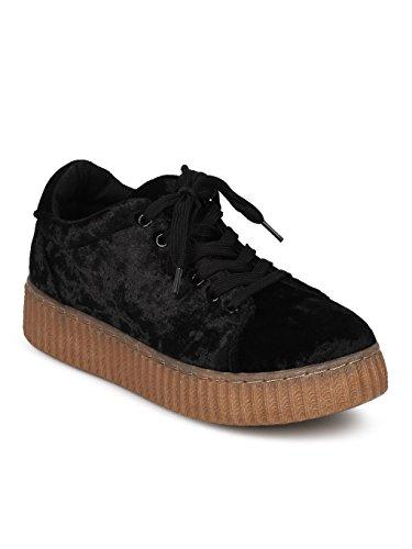 Alrisco Women Crushed Velvet Lace Up Flatform Creeper Sneaker HC91 - Black Velvet (Size: 6.0)