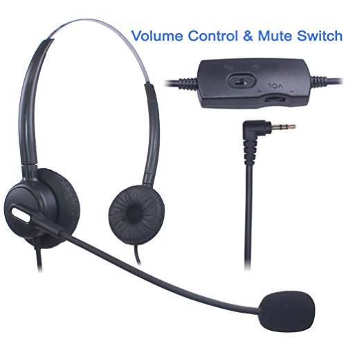 Xintronics 2,5mm Telefon Headset Binaural, Noise Cancelling Mikrofon, Lautstärkeregler, Call Center Kopfhörer für Panasonic Polycom Grandstream Gigaset Cisco Linksys SPA Schnurlostelefon(X203VP)
