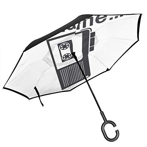 Twin Peaks Diane Diktiergerät Doppellagiger umgekehrter Regenschirm für Auto umgekehrt Faltbar kopfüber C-Form Hände - Leicht & Winddicht - Ideales Geschenk