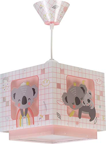 Dalber Koala Lámpara Infantil de Techo, 60 W, Rosa