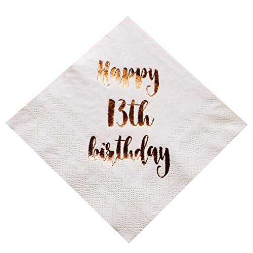 MAGJUCHE Happy 13th Birthday Cocktail Napkins, 50-Pack 3ply White Rose Gold Dinner Celebration Party Decoration Napkin