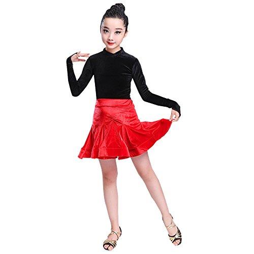 BOZEVON Enfant Filles Vêtements de Danse À Manches Longues Tops + Jupe Ensemble de Danse Latine Pratique Performance Compétition Costume, Style-1/130