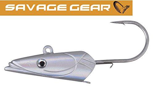 Savage Gear Sandeel Jigg Head - Jighaken für Gummifische, Jigkopf für Gummiköder, Bleikopf für Jigs, Bleiköpfe zum Angeln, Größe/Gewicht/Packungsinhalt:Gr. 6/0 / 63g / 2 Stück