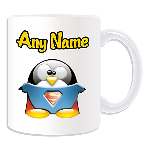 Personalizado Regalo–Taza de Superman (pingüino), diseño de personaje Tema, Blanco)–Cualquier Nombre/Mensaje en tu único–Disfraz Movie Superhero Hero Kal-el Clark Kent