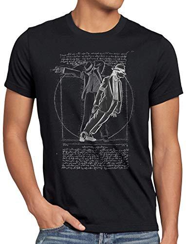 CottonCloud Vitruvianischer Pop King Herren T-Shirt da Vinci Michael Moonwalk, Größe:L, Farbe:Schwarz