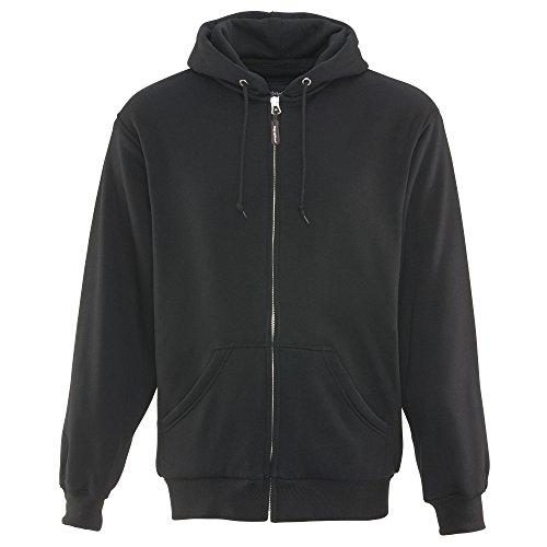 RefrigiWear Thermal Knit Lined Hoodie - Warm Hooded Zip-Up Sweatshirt (Black, 2XL)