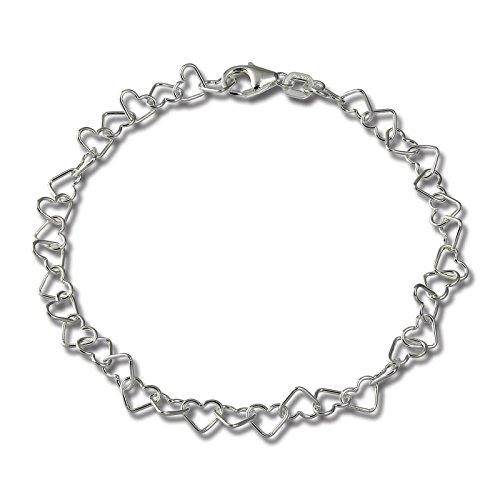 SilberDream braccialetto in argento Sterling – Braccialetto da donna cuore argento – 18 cm – SDA2118J.