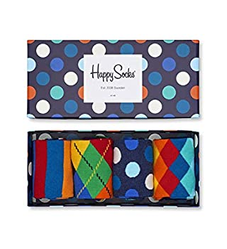 Happy Socks Colorful and Fun Multi-Color Socks Gift Set for Men and Women Premium Cotton Socks 4 Pair Giftbox size  10-13
