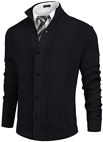 COOFANDY Men s Knitted Cardigan Sweaters Stand Collar Button Down Sweater with Pockets 01 Black product image