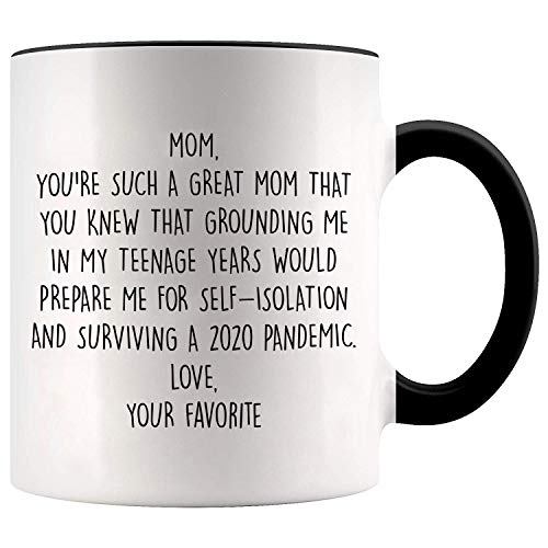 YouNique Designs Mom Mug, 11 Ounces, Mothers Day Gifts from Daughter or Son Mug, Mom Coffee Mug (Black Handle)