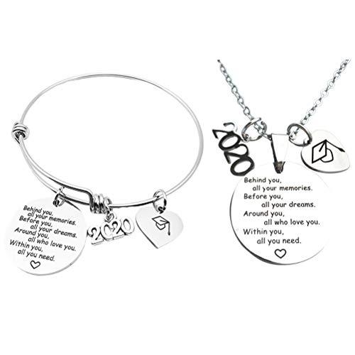 VALICLUD 2Pcs Girls Silver Friendship Armreif Immer Schwestern Immer da Armband für den Abschluss (Silber) Gift