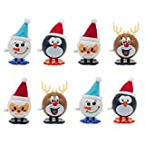 8 Pieces Wind-up Christmas Novelty Jumping Toys, Christmas Wind Up Toys Stocking Stuffers for Kids Party Favors