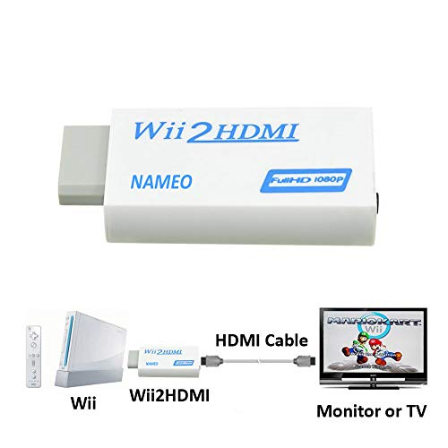 NAMEO Wii to HDMI Adapter Converter Wii2HDMI Support 1080P 720P 3.5mm Audio Video Output - Supports All Wii Display Modes (White-Blue)