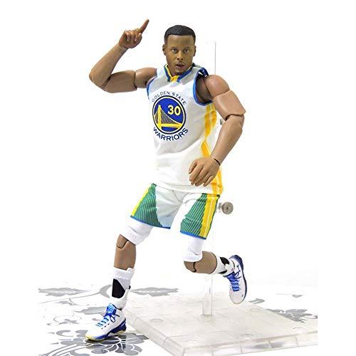 NBA Stella del Basket No. 30 Goldenstatewarriors Stephen·Curry Action Figure, Statua Giocattolo Giunto Mobile PVC di Protezione Ambientale di Alta qualità Adatto per La Decorazione Domestica -21.5Cm