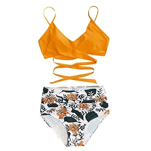 Zweiteiliger Badeanzug Damen Push Up Set Bikini Set Crossover Bademode Strandkleidung Oberteil High Waist Wickel Bikinihose Sexy V Ausschnitt Sportlich Strandbikini