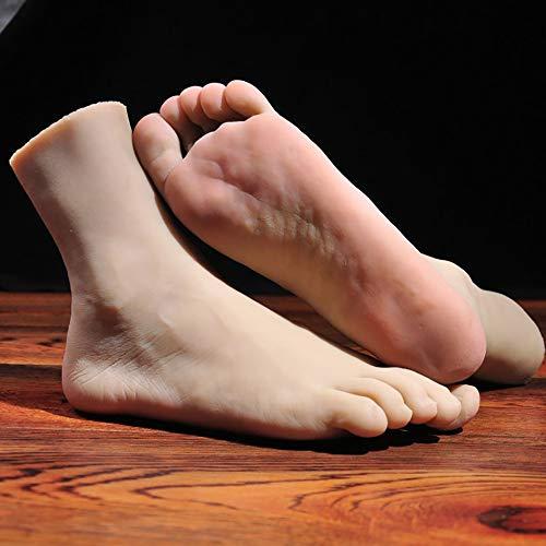 AgByy 1 Paar Silikon Leben Größe Männlich Mannequin Fuß Anzeige Jewerly Sandale Schuhsocke Anzeige Kunst Skizzieren Requisiten Für Fotografie Spielzeug Fetisch,Leftfoot