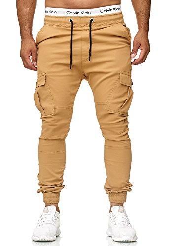 Code47 Herren Chino Jogg Jogger Jeans Slim Fit Cargo Stretch W29-W38 Beige W29 L32