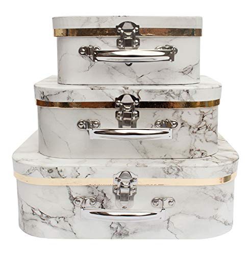 Emartbuy Set of 3 Rigid Luxury Presentation, Suitcase Gift Storage Box, White Marble Print, White Interior with Metal Handle and Clasp