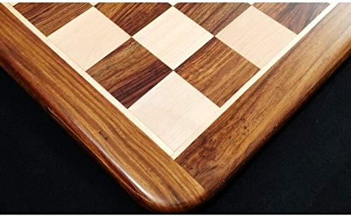 """RoyalChessMall - Tablero de ajedrez de Madera con Incrustaciones de 19 """"- Palisandro, Arce y Oro - 50 mm Cuadrado"""