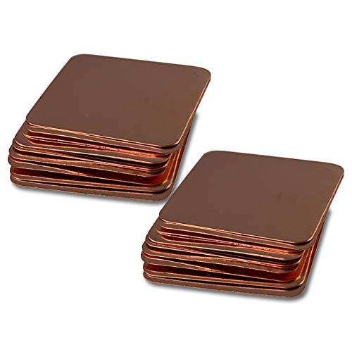 Kupferplättchen [15x15x0,1mm] [20 Stück] Kupfer Copper Pad Heatsink | geeignet für GPU RAM SSD VRAM VRM Steuerplatinen Elektronik LED SMD IC