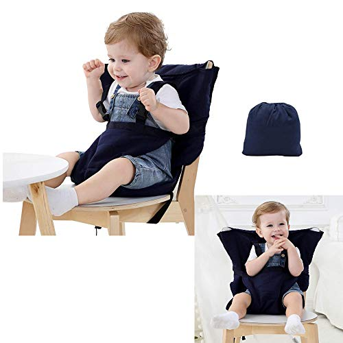 Funda de asiento portátil para bebé para trona de viaje, asiento de seguridad para niños pequeños (azul oscuro)