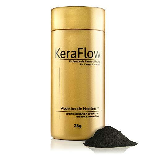 KeraFlow® PREMIUM Streuhaar zur Haarverdichtung - Schütthaar für volles Haar in Sekunden - Hair Fibers zum Kaschieren von lichten Haaren - Haarpulver gegen kahle Stellen - 28g (SCHWARZ)