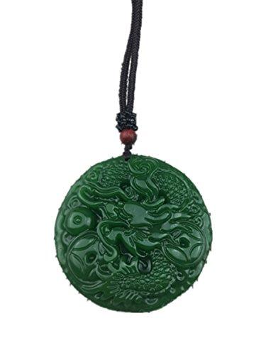 yigedan Vingtage Anhänger Drache Amulett aus natürlicher grüner Jade, rund