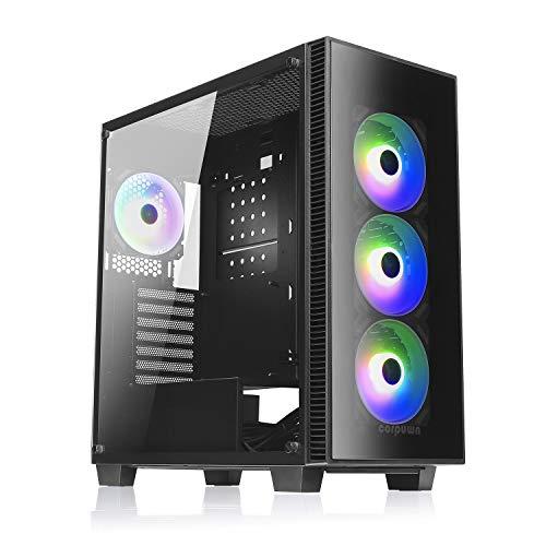 corpuwn EHP 750 Mid Tower ATX - Caja de ordenador para videojuegos (4 ventiladores RGB de 120 mm, ventanas de cristal templado), color negro