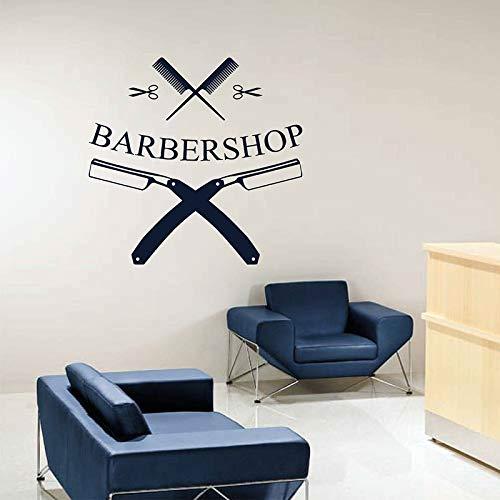 DLYD Friseur gerade Rasiermesser Wandtattoo Logo Logo Friseur Haarbürste Vinyl Aufkleber Fensterdekoration Friseursalon Wandbild43x42cm