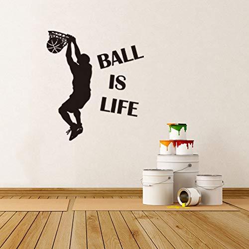 Ball is life Baloncesto Etiqueta de la pared Personalidad Creativa Sala de estar Dormitorio Decoración Etiqueta de la pared 42X47cm